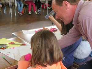 David Sword of SAA working with child at Story Factory Chichester