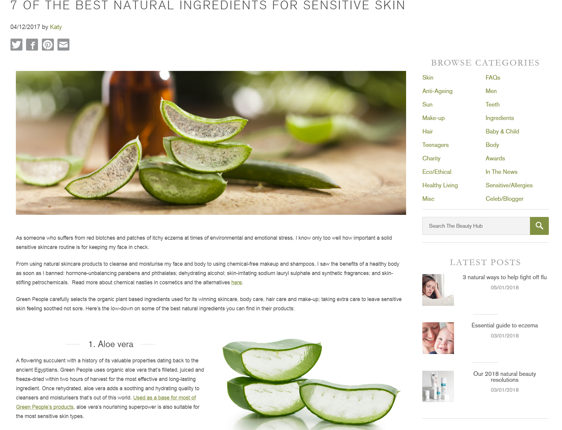 Best natural ingredients for sensitive skin - Green People Beauty Hub blog