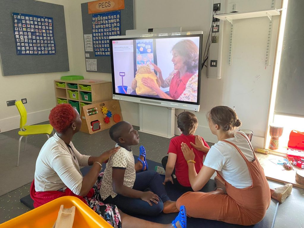 Children enjoying Story Massage live video during lockdown