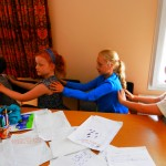 Children doing story massage at Story Factory Chichester Photo By K Lassetter