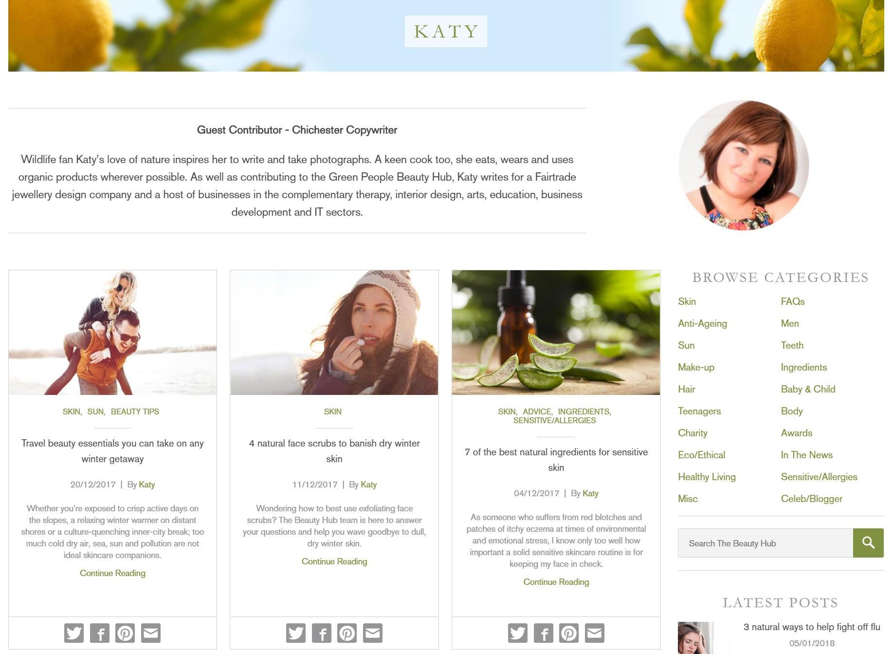 Katy Lassetter Green People Blog Copywriting Profile