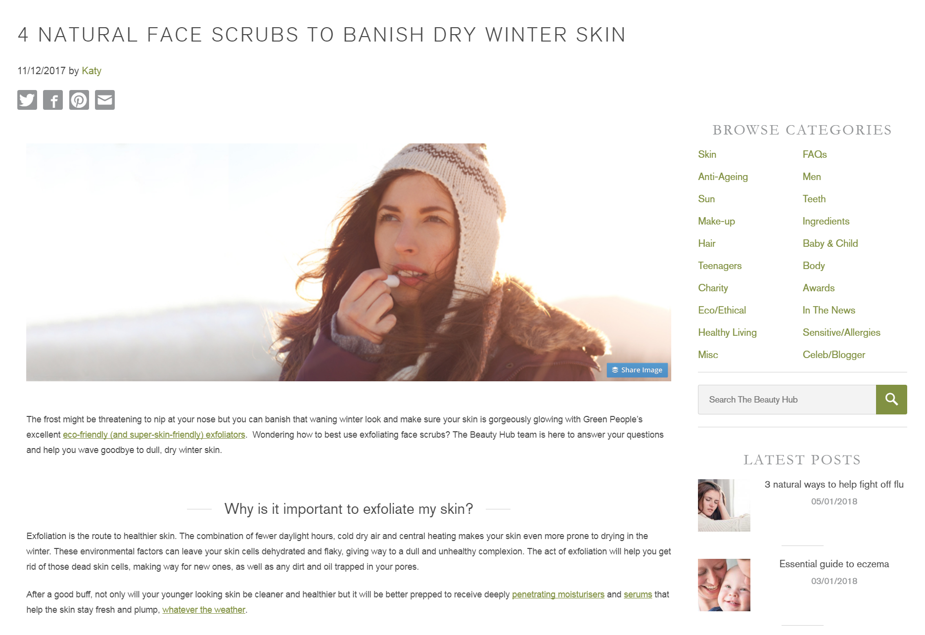 Natural face scrubs to banish dry skin - Green People Beauty Hub blog
