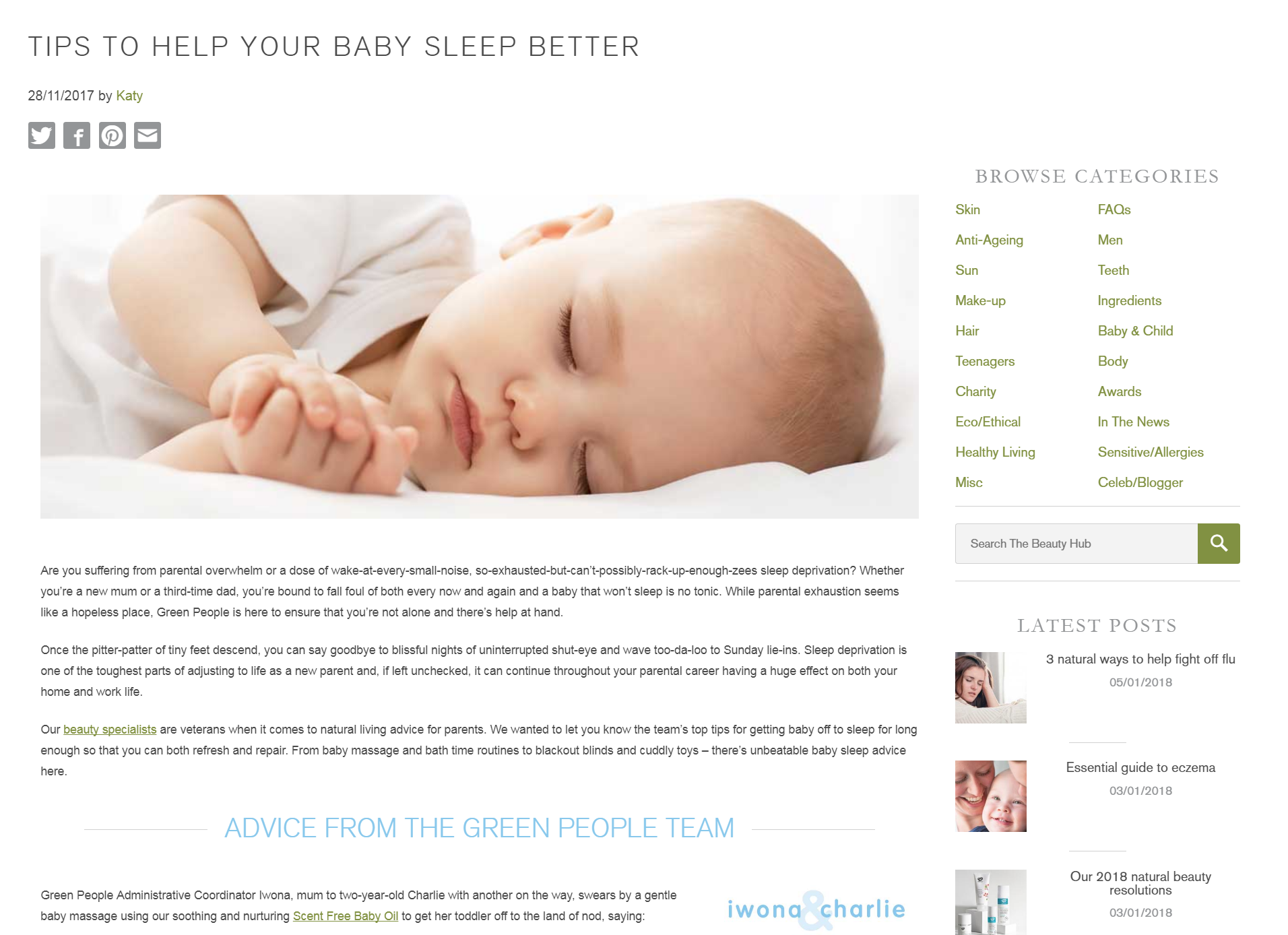 Tips to help baby sleep better - Green People Beauty Hub blog