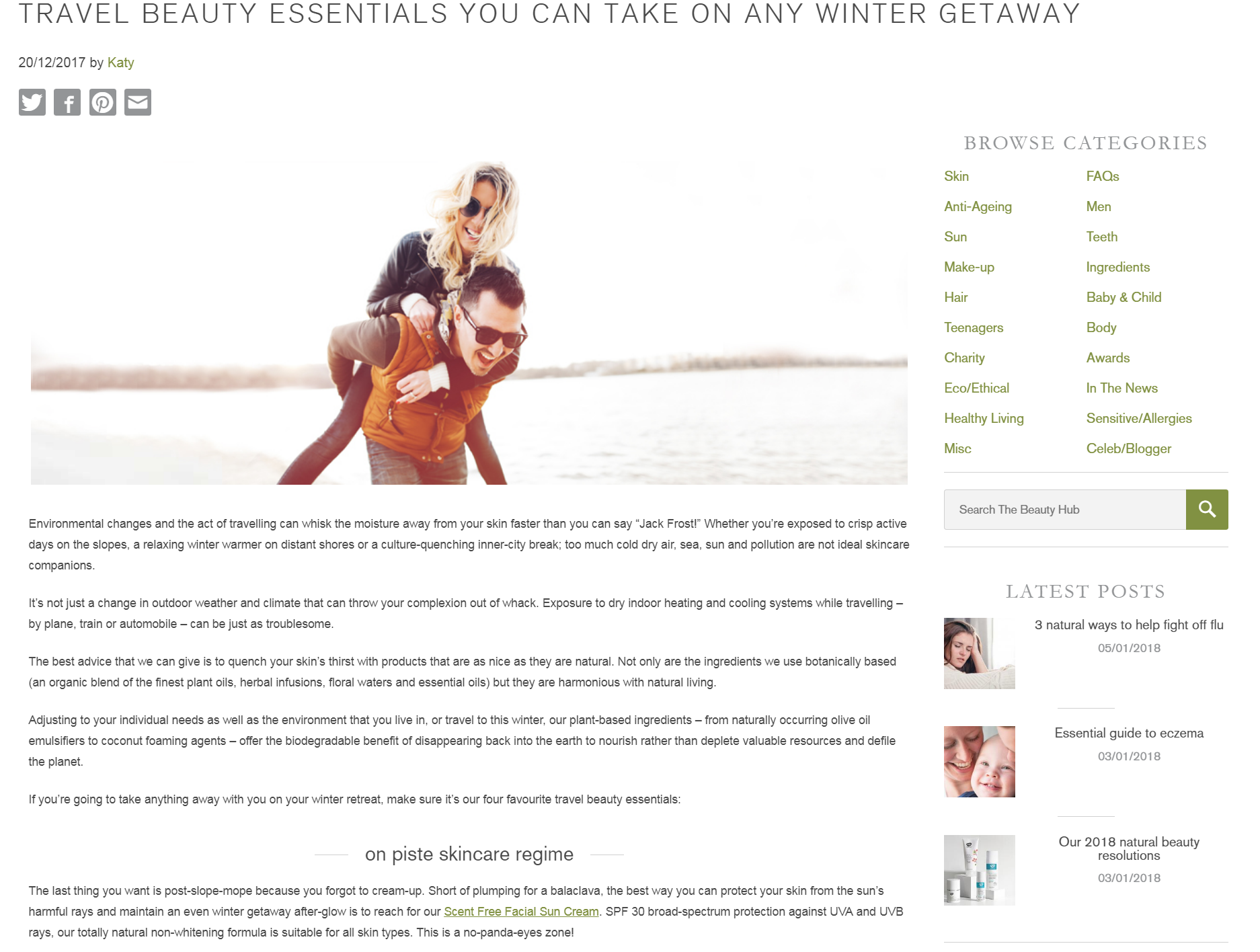 Travel beauty essentials for a winter getaway - Green People Beauty Hub blog