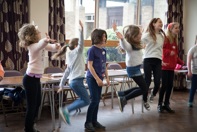 Story Factory Chichester children jump for joy