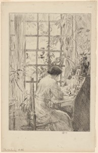 Woman at writing desk